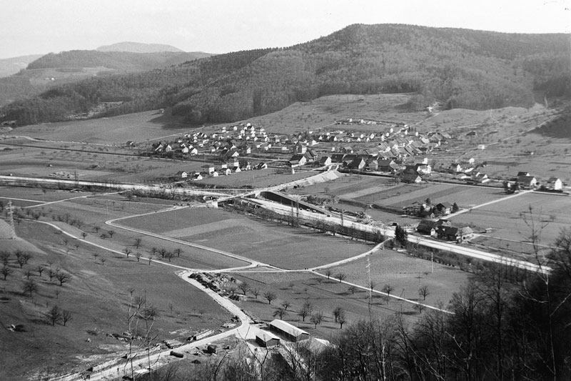 1967 Ansicht von NW, Beginn Autobahnbau